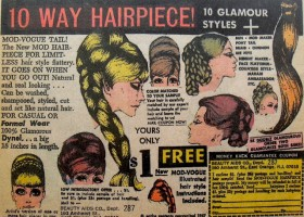 1967 BEAUTY AIDS Hair Piece Vintage Comic Book Advertisement